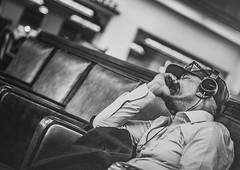 Waiting For A Train (darren.cowley) Tags: california portrait blackandwhite monochrome la sleep candid amtrak headphones artdeco unionstation dutchangle waitingforatrain