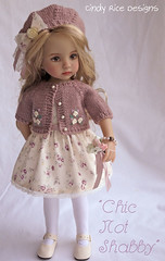 """Chic Not Shabby"" made for Dianna Effner's Little Darlings. (Cindy Rice Designs) Tags: hat sweater doll dress embroidery knit beret cardigan littledarlings effner"