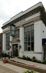 Park National Bank  Granville, Ohio (Pythaglio) Tags: park national bank building structure historic granville ohio licking county brick classical revival cornice denticulate dentils pilasters capitals windows doors entrance clock signs flowers railing sidewalk street