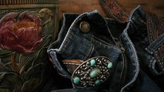 Woodcraft (Rand Luv'n Life) Tags: odc our daily challenge zipper weller woodcraft art pottery sterling turquoise belt buckle blue jeans composition still life