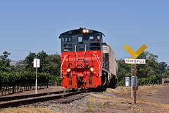 Yard Limits Schellville (caltrain927) Tags: northwestern pacific nwp grain empty hopper car local freight emd mp15dc mp15 california ca shortline railway railroad schellville