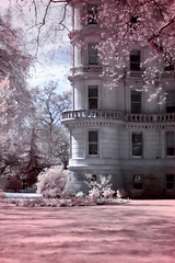 Rounded corner tower (helganovelli) Tags: city london architecture englisharchitecture building garden pink surreal ethereal dream soft delicate infrared fairytale listedbuilding gradeii grade2 frenchstyle girly helganovelli romantic