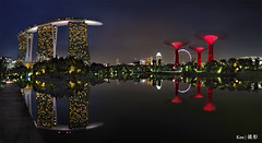Panoramic view of MBS + Super trees (Ken Goh thanks for 2 Million views) Tags: mbs mrina bay sands gardenbythebay singapore flyer blue sky longexposure landscape colors water reflection hour supertree stitch panaroma pentax k1 sigma 1020