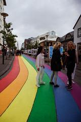 Reykjavik in august (Lou Rouge) Tags: iceland islandia reykjavik urban calle streetphotography streetphoto strada arcoballeno arcoiris bandera gayfriendly mujeres women summer sklavrustgur callecomercial