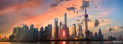 Shanghai Pudong skyline panorama (Dibrova) Tags: shanghai skyline sunrise panorama pudong river reflection china city cityscape dawn sunset sky tower panoramic skyscraper oriental pearl silhouette twilight urban highrise lights huangpu architecture asia