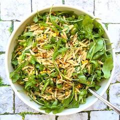 orzo, greens & pan-charred corn salad (Jackie Newgent RDN, CDN) Tags: orzo corn arugula salad healthy seasonal recipe charred tasteoversbyjackie jackienewgent bowl wholegrain