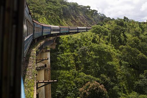 Tazara train climbing the Great Rift Valley escarpment, Zambia