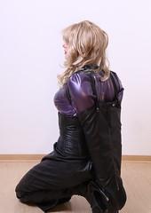 Latex Tgirl in armbinder (sabrinamueller789) Tags: tgirl tranny latex armbinder hobbleskirt