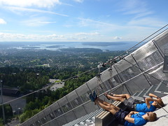 the view from the Holmenkollen ski jump (Oren & Shimrit) Tags: אוסלו נורבגיה נורווגיה סקנדינביה ויקינגים אופרה oslo akershus fortress norway viking vikings storting parliament opera house operahuset oslofjord frogner park vigeland sculpture bygdøy peninsula museum holmenkollen ski jump jernbanetorget square rådhus city hall nobel peace prize barcode project the scream edvard munch madonna norsk folkemuseum norwegian cultural history gol stave church center kontiki fram thor heyerdahl vikingskiphuset ship oseberg national gallerycomfort hotel grand central