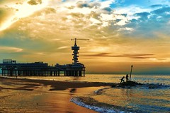 Scheveningen pier 1 (pavel.suva) Tags: sunset sea sky beach water clouds evening pier crane scheveningen silhouete hague haag