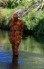 Here to Stay (Jocey K) Tags: newzealand christchurch water river rust installation avon stay gormleystatue scape8 avoneriver