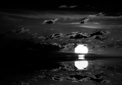 Still Waters (Ursa Davis) Tags: sunset usa sun white black west reflection water set clouds america photoshop dark photography photo key pacific northwest ominous sinister united low north states davis ursa