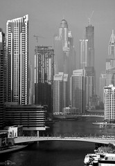 Dubai Marina - UAE (kadryskory) Tags: bw kadryskory urban water marina uae dubaimarina dubai skyscrapers travel bnw highbuildings bridge