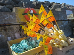 Buoys and flags, Hofsos, Iceland (Travel writer at KristineKStevens.com) Tags: iceland hofsos flag