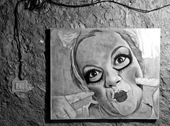 (ariannabru) Tags: paint blackandwhite black white bianco biancoenero nero smile sorriso clown eyes wall quadro art arte streetart street monocromo persone surreale ritratto e