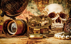 Vintage still life. (1990marvin) Tags: world voyage old travel sea brown abstract art history century vintage paper skull gold design search ancient marine tour treasure map antique background grunge watch style science retro canvas equipment business direction telescope journey pirate instrument geography concept nautical discovery success tool navigation compass grungy pocketwatch navigate antiquity charred bygone