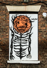 skeleton glow (PDKImages) Tags: urban streetart art mill abandoned beauty lady contrast manchester graffiti eyes colours anger lips fortune hidden angry drama fortuneteller unexpected teller liom