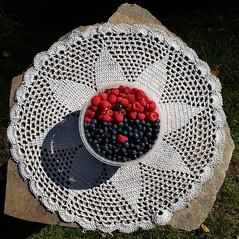 berry artistic! (reviskogen) Tags: blueberry raspberry cloth stone table grass sun outdoor
