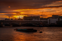 London sunset - Explored thanks!  No. 377 20/07/16 (jimj0will) Tags: sunset thames river barge water sun london england uk europe clouds southbank