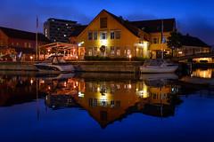 Fiskebrygga   Kristiansand Norway 2016 (Knut Arne Gjertsen) Tags: otherkeywords photographerknutarnegjertsen piederro transport architecture boat night nightscape quiet reflection restaurant sea kristiansand vestagder norway