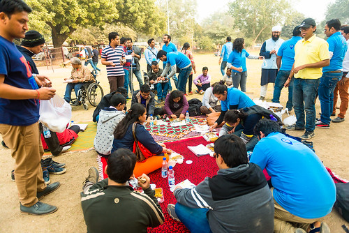 Accessible Tour of Qutub Minar: The group enjoying the picnic in the premises.