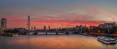 Waterloo Sunset Panorama (Jerry Fryer) Tags: sunset panorama thames river dusk clouds london waterloo bigben palaceofwhitehall palaceofwestminster charingcross cleopatraneedle shellbuilding londoneye royalfestivalhall countyhall