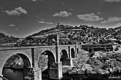 Puente romano de Alcntara (CristinaH-Fotografia) Tags: puente romano trajano alcntara cceres espaa spain hdr blackandwhite bw blancoynegro arte arquitectura antigua historia rip tajo montaa geologa