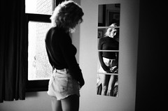 Lae (alfredoziano) Tags: portrait portraiture zianophoto model artisticportrait fashion femme montreal sexy sensual sensuality seduction seductive mood feel emotion gorgeous soul girlsonfilm bnw bw noiretblanc analog analogue argentique mtl film filmisnotdead filmphotography filmphoto filmgrain 35mm 35mmfilm canonet canonetql17 ql17 kodak kodakfilm kodaktrix kodak400tx trix 400tx bwfilm beautiful beauty believeinfilm giii curly blonde lingerie mirror reflection shortshorts