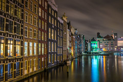 Amsterdam (angheloflores) Tags: amsterdam damrak houses canal night lights clouds sky colors architecture travel cityscape urban explore netherlands