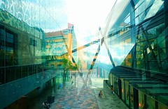Confused Reflection (esala.kaluperuma) Tags: reflection buildings confused leicester uk midlands highcross photograph esala kaluperuma creative abstract lines streetphotography digital art urban town shoppingcentre modern niceweather