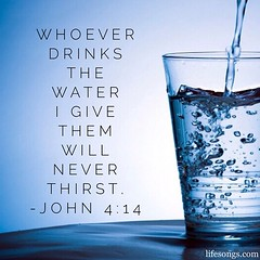 "LifeSongs Uplifting Word: ""Whoever drinks the #water I give them will never thirst."" - John 4:14  #Bible #BibleVerse #quotes #inspirational #truth #positive #motivational #drink #cup #glass #bubbles #blue #Jesus #Christ #Christian #gospel #LifeSongsFM #Go"