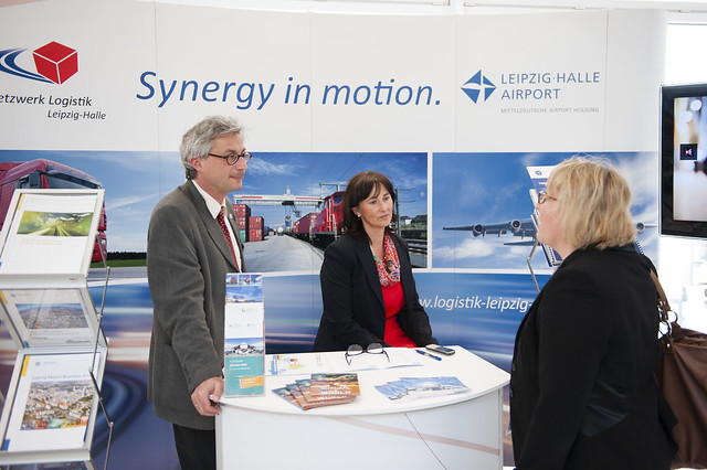 Netzwerk Logistik representatives at the exhibition