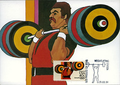 postcard - Los Angeles 1984 Summer Olympics 3 (Jassy-50) Tags: california sports losangeles postcard stamp weightlifting olympics athlete postagestamp prepaid weightlifter summerolympics maxicard 1984summerolympics robertpeak losangelessummerolympics olympicsstamp losangeles1984summerolympics