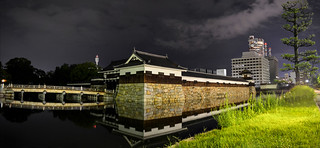 Hiroshima Castle Ninomaru at Night Panorama