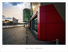 On the corner (Parallax Corporation) Tags: sunset red architecture manchester salfordquays greater thelowry mediacity