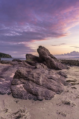 Beach Rock Formation, Ayr, Scotland, July 15th 2016 (garyal23) Tags: beach rock formation serene calm scotland fuji xe1 1855mm 18 55 28 4 sea sunset cloud clouds sand purple landscape land west coast coastal colour color light summer july 2016 water