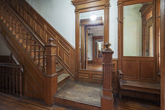 Brooklyn New York Sterling Place brownstone foyer (techpro12) Tags: newyork historic room interior victoian stairway stairs banister stairwell woodwork ornate newel mirror architecture