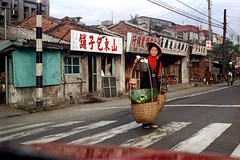 33-218 (ndpa / s. lundeen, archivist) Tags: nick dewolf nickdewolf color photographbynickdewolf 1970s 1972 fall film 35mm winter republicofchina taiwan taiwanese china chinese 1973 street crosswalk woman youngwoman hat sign signs store stores shop shops storefront storefronts citylife streetlife candid streetphotography people carryingpole shoulderpole carry carrying basket baskets utilitypole powerlines city town 33 reel33