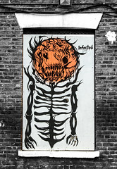 skeleton glow contrasts (PDKImages) Tags: urban streetart art mill abandoned beauty lady contrast manchester graffiti eyes colours anger lips fortune hidden angry drama fortuneteller unexpected teller liom