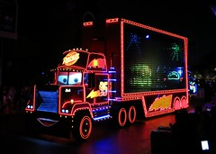 Mack from Cars in the Paint the Night parade (Ruth and Dave) Tags: mack superliner truck character disneyland disneylandresort parade illuminated lorry transporter cars movie disney paintthenight