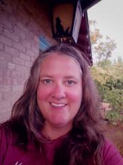 Sunset monsoon self portrait (EllenJo) Tags: july30 2016 ellenjoroberts pentaxqs1 pentax ellenjo monsoon clarkdale summer storm rain arizona verdevalley bricks home house me selfportrait goldenlight stormlight