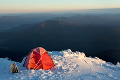 First light on an icy Soulo tent