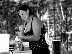 Refreshment (raymondclarkeimages) Tags: raymondclarkeimages rci usa 8one8studios blackandwhite mono 10d canon outdoor dof monochrome depthoffield refreshments waterice people street streetphotography focus