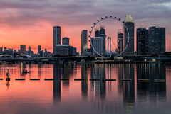 Sunset and the Flyer (wilkinsong) Tags: singapore singaporeflyer marinabay reflections
