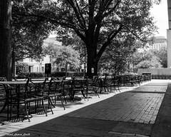 University of South Carolina Outdoor Cafe (that_damn_duck) Tags: cafe tableschairs universityofsouthcarolina angles bw blackwhite