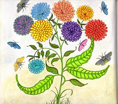 Secret Garden - 002 (ronniesz) Tags: zentangleinspiredart adultcoloring derwentinktensepencils finelinecoloredpens prismacolorpencils patterns penandink nature flowers whimsy