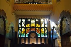 Golden Hour (MPnormaleye) Tags: artdeco deco art design patterns utata 24mm interiors lobby building architecture zigzag chevron sunburst transom clock mayan aztec windows arches brick tile arcana