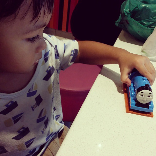 #Indi got #Gordon (from #Thomas and #friends) toy for his #Happy #meal and hes so happy. Thanks #McDonalds! :)