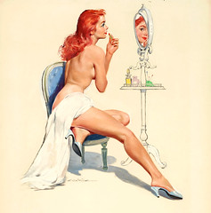 Applying My Make Up by Ernest Darcy Chiriacka (Tom Simpson) Tags: woman illustration vintage painting nude topless darcy pinup pinupart ernestchiriacka