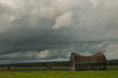 Aching back (Len Langevin) Tags: old sky canada building abandoned weather clouds barn nikon farm alberta nikkor weatheredwood d300 18300